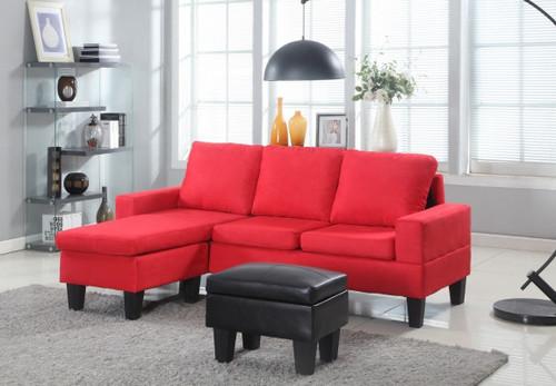 Red Microfiber Sectional W/Storage Ottoman