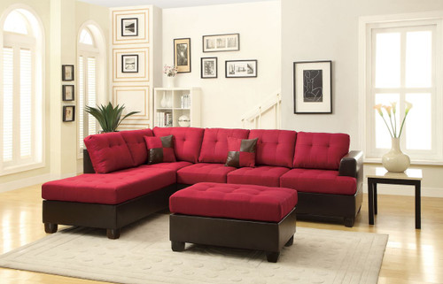 3-PCS SECTIONAL SOFA IN BLENDED LINEN CARMINE
