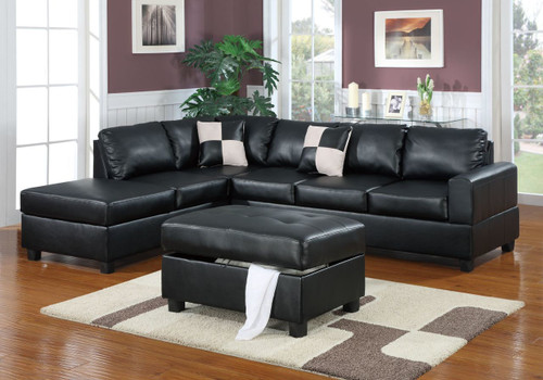 3-PCS SECTIONAL SOFA BONDED LEATHER BLACK
