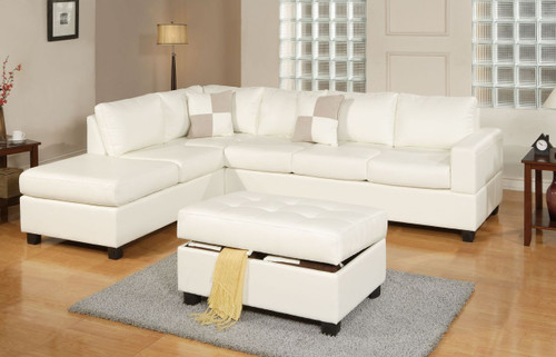 3-PCS SECTIONAL SOFA BONDED LEATHER CREAM