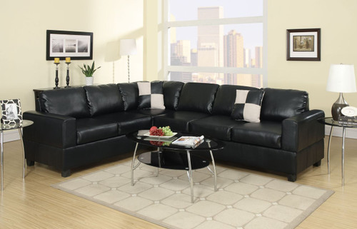 2-PCS SECTIONAL SOFA SETPU-BLACK