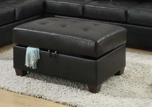 COCKTAIL OTTOMAN/BLACK BONDED LEATHER-F7530