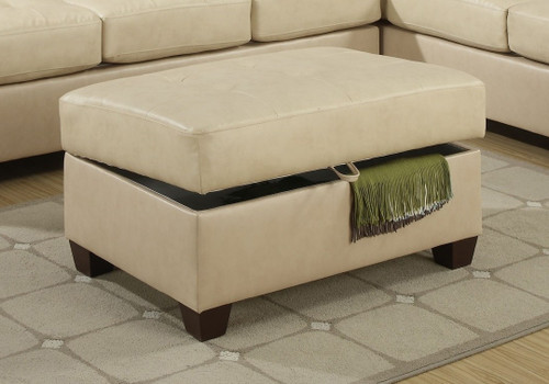 COCKTAIL OTTOMAN/KAHKI BONDED LEATHER-F7532