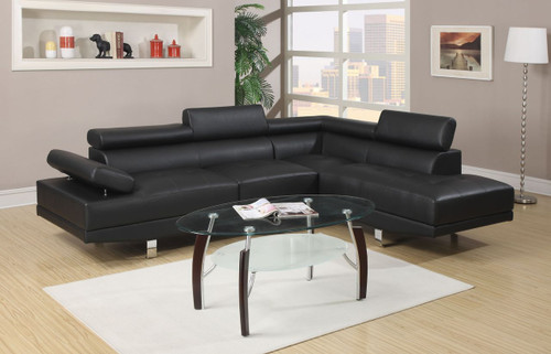MODERN 2-PCS SECTIONAL SOFA SET IN BLACK