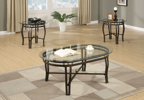 3-PCS COFFEE TABLE SET IN OVAL BRONZE-F3093