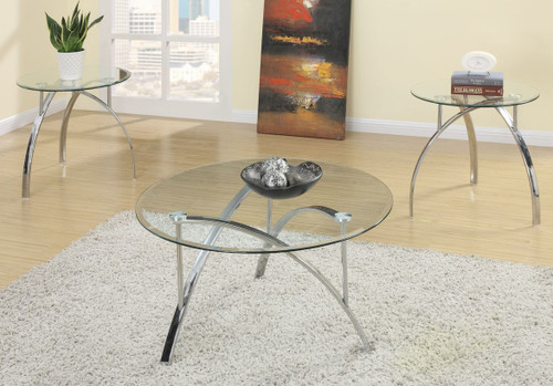 3-PCS COFFEE TABLE SET IN GLASS CHROME-F3098