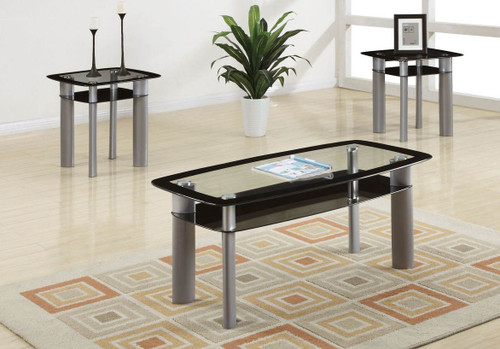 3PCS COFFEE TABLE SET IN SILVER BLACK GLASS-3200-F3091