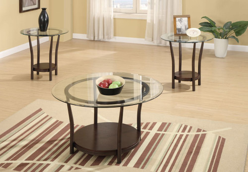 3-PCS COFEE TABLE SET IN ROUND BROWN-F3095