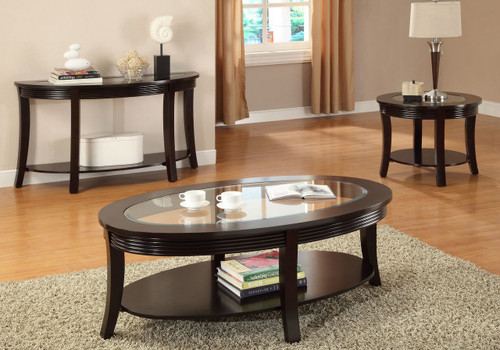 WOOD & BEVELED GLASS TOP COFFEE TABLE-F6102