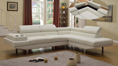 2PC PETRO BONDED LEATHER SECTIONAL IN WHITE