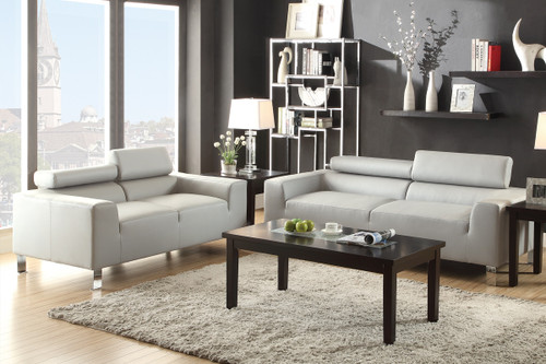 GRAY 2 PCS SOFA AND LOVESEAT SET WITH ADJUSTABLE HEADREST