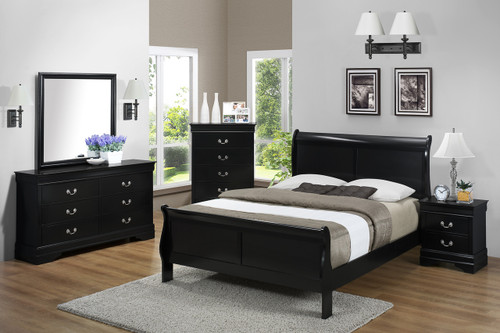 7PCS LOUIS PHILLIP BEDROOM SET IN BLACK