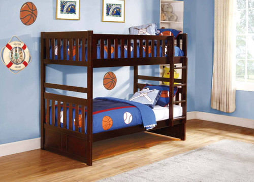 Rowe Twin/Twin Bunkbed W/ Twin Trundle - Dark Cherry