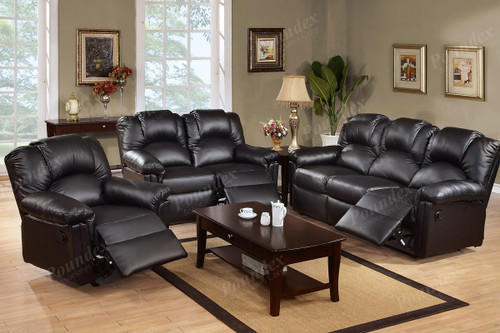 2PC DUSTIN RECLINER SOFA AND LOVESEAT (BLACK) -F6671