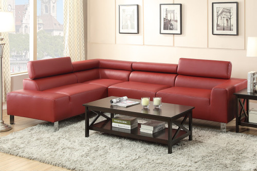2PC STELLA SECTIONAL SET IN BURGUNDY