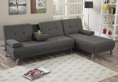 PRESTON ADJUSTABLE SECTIONAL IN SLATE POLYFIBER (LINEN-LIKE FABRIC) -F7844/F7845