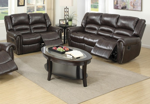 3PC GLIDER RECLINER CHAIR IN BROWN COLOR -F6755