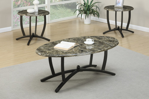 3PC FAUX MARBLE TOP COFFEE TABLE SET
