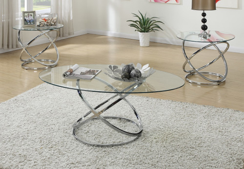 3PC 8MM GLASS TOP COFFEE TABLE SET