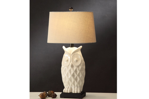 "IVORY COLOR OWL SHAPED BASED LAMP 29"" H (2 LAMPS)"