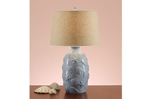 "SEASHELL STAMPED BASE LAMP 28"" H (2 LAMPS)"