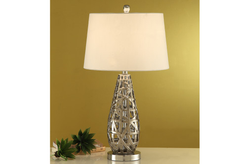"TEAR DROP SHAPED ABSTRACT METAL FINISH TABLE LAMP 28""H (2 LAMPS)"