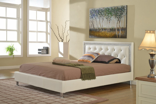 FLORENZA WHITE VELVET TUFTED PLATFORM BED FRAME AND MATTRESS
