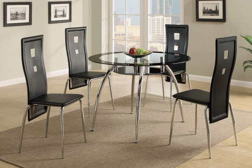 5-PCS BLACK CONTEMPORARY ROUND TABLE DINING ROOM SET