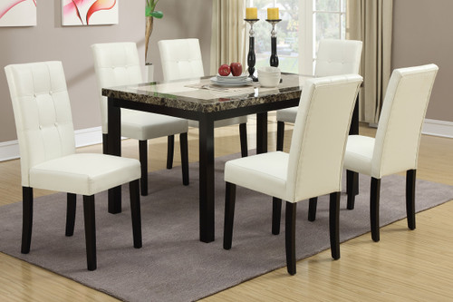7PCS CREAM FAUX LEATHER DINING ROOM SET