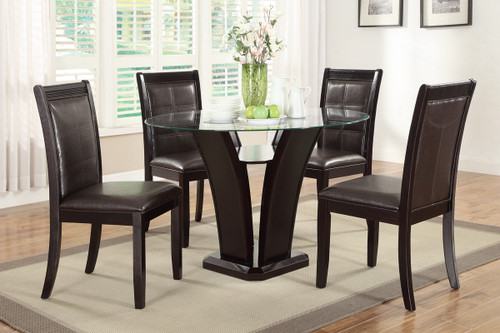 5-PIECES ROUND GLASS TABLE DARK ESPRESSO FAUX LEATHER DINING ROOM SET