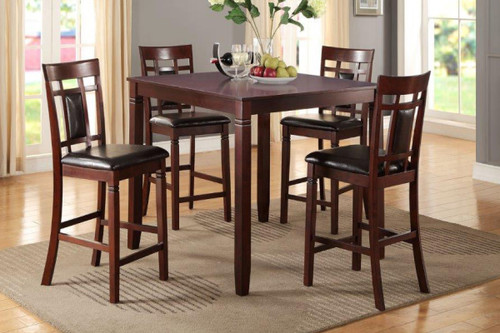 5-PIECES CHERRY WOOD FINISH FAUX LEATHER COUNTER HEIGHT SET