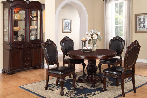 ASTOUNDING CARVED FLORAL ACCENTS 5 PCS FORMAL ROUND DINING ROOM SET