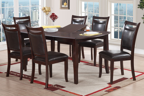 CONTEMPORARY RECTANGULAR DARK BROWN 7-PIECES DINING ROOM SET