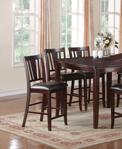 DARK ROSY BROWN FAUX LEATHER 5-PIECES COUNTER HEIGHT SET