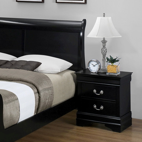 BLACK 2-DRAWER NIGHT STAND LOUIS PHILLIP-B3900-NST