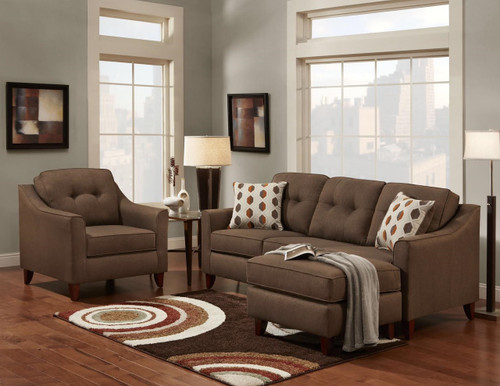 WASHINGTON REVERSIBLE CHAISE SOFA (CHOCOLATE) - 4743CH