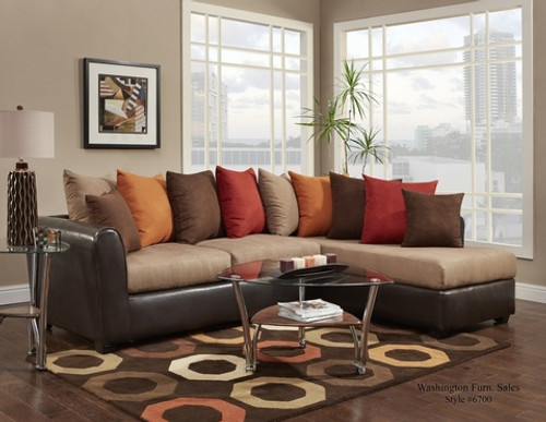 Victory Lane Taupe/Trapper Brown 2 PC Sectional - 6700
