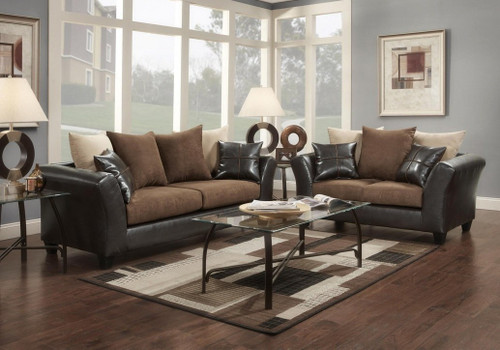 2PC VICTORY LANE SOFA AND LOVESEAT IN CHOCOLATE-9000-CH