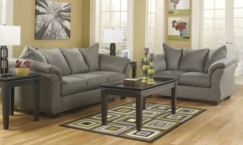 2PC ASHLEY DARCY SOFA And Loveseat Set (COBBLESTONE) (750CO