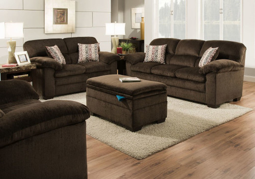 2PC SIMMONS Traditional Style SOFA & Loveseat (PLATO-CHOCOLATE)-3684PL