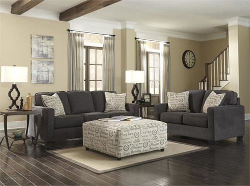 3PC ASHLEY SOFA LOVESEAT AND OTTOMAN SET (CHARCOAL) - 166CH