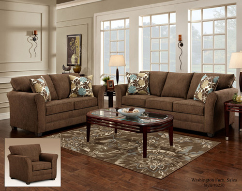 2PC COUNTRY SOFA AND LOVESEAT IN COUNCIL FUDGE