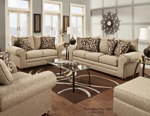 WASHINGTON 2PC SOFA LOVESEAT SET (MIX CAFE) - 2120MI