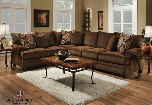 ALBANY SECTIONAL SOFA (CHOCOLATE)-8645CH