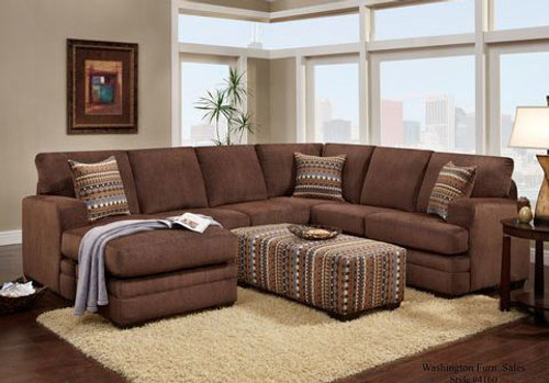 WASHINGTON HILLEL SECTIONAL SOFA (CHOCOLATE) - 4160CH
