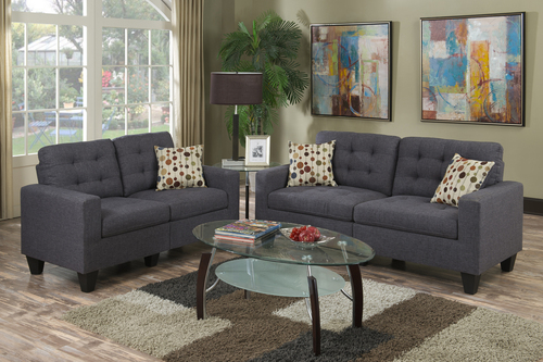2PC STUDIO SOFA SET IN BLUE GRAY