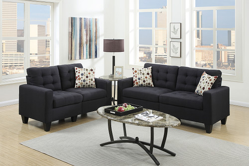 2PC STUDIO SOFA SET IN BLACK
