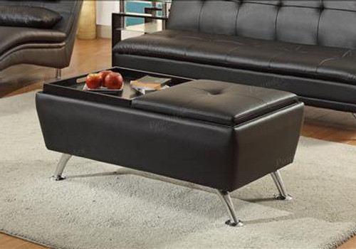 Black Storage Ottoman with-F7840