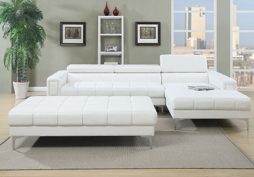 MODERN 2PC SECTIONAL W/ FLIP UP HEADREST IN WHITE COLOR-F7364