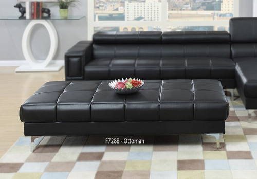 MODERN 2PC SECTIONAL W/ FLIP UP HEADREST IN BLACK COLOR-F7363